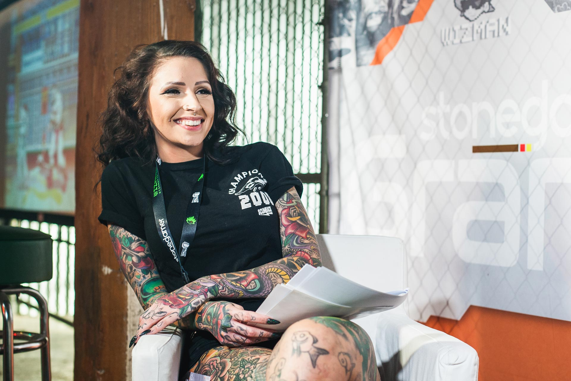 2017 SGL Grand Finale - Host Angela Mazzanti interviewing > Photo by Mitch Visquez